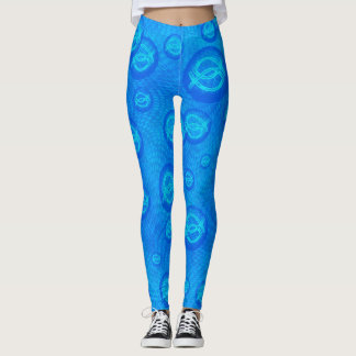 Jesus fish in blue bubbles leggings