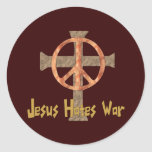 Jesus Hates War Round Sticker