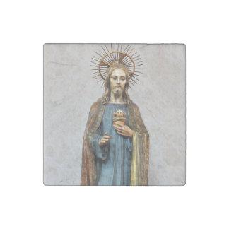 Jesus Holding Golden Sacred Heart Stone Magnet