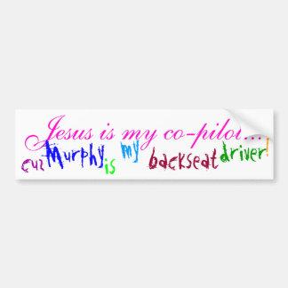 Jesus Is My Co-pilot... (bumper sticker) - Brt Pnk Bumper Sticker