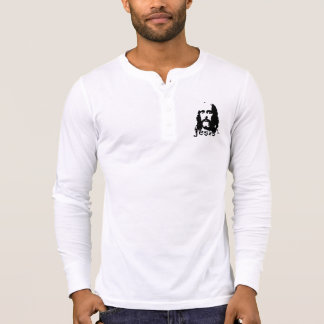 Jesus Men's Canvas Henley Long Sleeve Shirt White