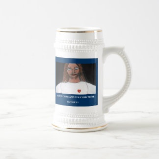 JESUS TOUCHED THEM BEER STEINS