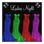"Jewel Formal Gowns Ladies Night Black 5.25"" Square Invitation Card"