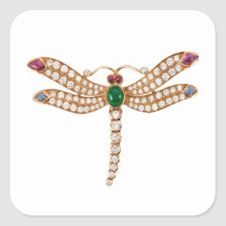 Jeweled Dragonfly Square Sticker