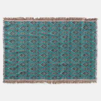 Jeweled Jade Damask Boho Glam Throw Blanket