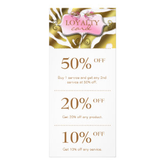 Jewelry Marketing Cards Pink Gold Zebra Salon Personalized Rack Card