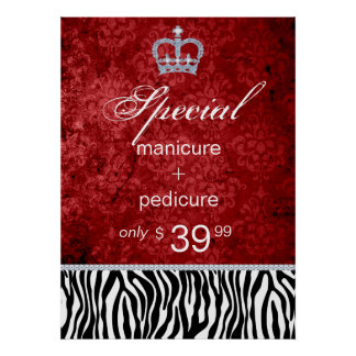 Jewelry Sale Crown Salon Zebra Valentine's Poster