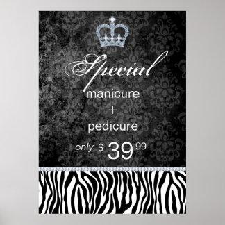 Jewelry Sale Crown Salon Zebra Valentine's Poster