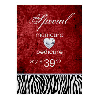 Jewelry Sale Damask Salon Zebra Valentine's Poster