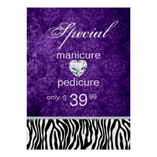 Jewelry Sale Damask Salon Zebra Valentine's Poster