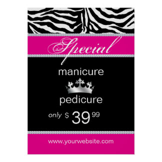 Jewelry Zebra Salon Poster Crown Pink