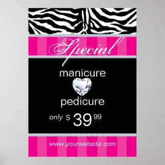 Jewelry Zebra Salon Poster Trendy Pink