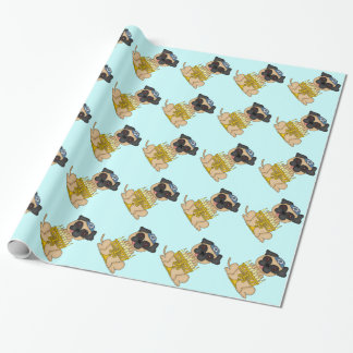 Jewish Holiday-Light Brown Pug Dog with Menorah Wrapping Paper