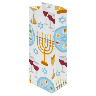 Jewish holiday Passover background pattern. Wine Gift Bag
