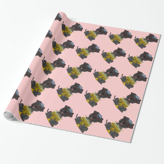 Jewish Holiday-Pug Dog with Menorah/Pale Pink Wrapping Paper