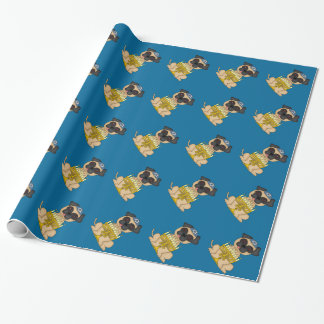 Jewish Holiday-Pug Dog with Menorah Wrapping Paper