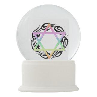 Jewish Star Colors Snow Globes