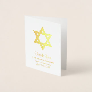 Jewish Sympathy Thank You Gold Foil Star of David Foil Card