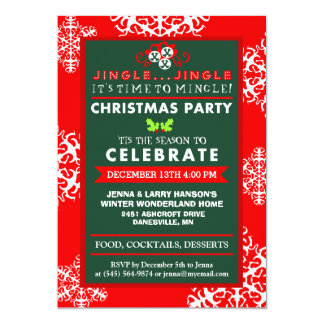 "Jingle Jingle Time to Mingle Red Green Christmas 5"" X 7"" Invitation Card"