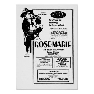 Joan Crawford Rose-Marie silent movie advertisemen Poster