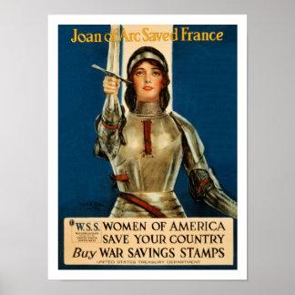 Joan Of Arc saved France World War 1 Poster