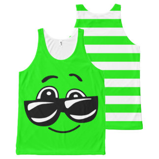 Joe Cool Green Emoji All-Over Print Tank Top