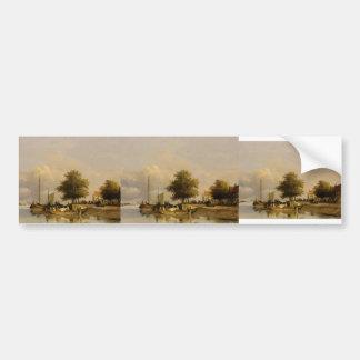 Johan Weissenbruch- Townsfolk on a quay Bumper Stickers