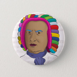 Johann Sebastian Bach in Vibrant Color Wig Pop Art 6 Cm Round Badge