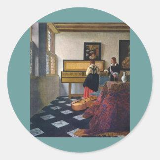 Johannes Vermeer's The Music Lesson (circa1663) Classic Round Sticker