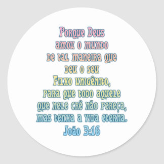 John 3:16 Portuguese Classic Round Sticker