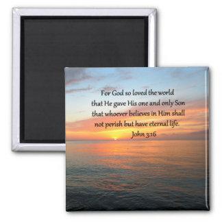 JOHN 3:16 SUNRISE OVER THE OCEAN PHOTO SQUARE MAGNET