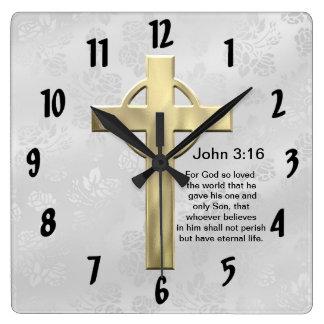 John 3:16 (white) square wall clock