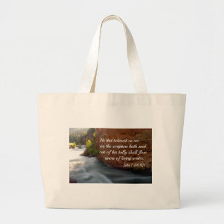 John 7:38 He that believeth on me Large Tote Bag