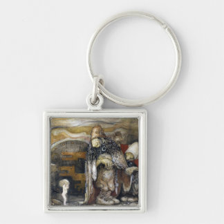 John Bauer Troll Silver-Colored Square Key Ring