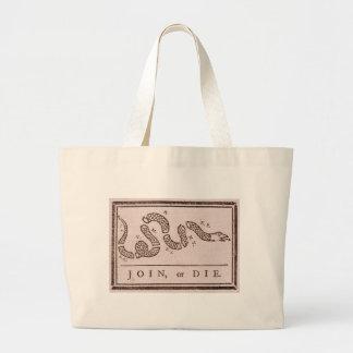 Join or Die Benjamin Franklin Political Cartoon Large Tote Bag