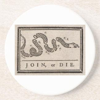 Join or Die Political Cartoon by Benjamin Franklin Coasters