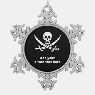 Jolly roger pirate flag snowflake pewter christmas ornament