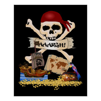 Jolly Roger, Pirate Ship & Pirate's Chest Poster