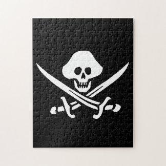 Jolly Roger Pirate Skull Bones Red Bandanna Jigsaw Puzzle