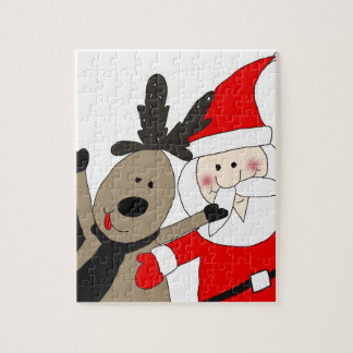 Jolly Santa and Reindeer Jigsaw Puzzle