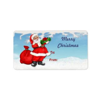 Jolly Santa Claus Christmas Gift Tags Address Label