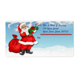 Jolly Santa Shipping Label