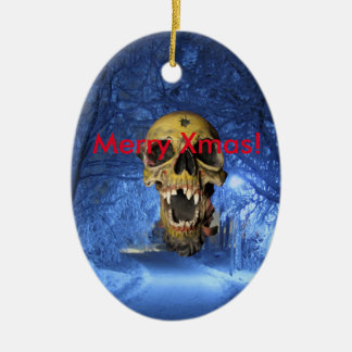 Jolly Scary Xmas Skull Christmas Ornament