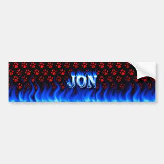 Jon blue fire and flames bumper sticker design