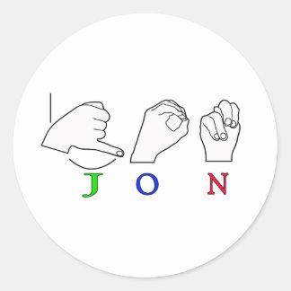 JON FINGERSPELLED NAME ASL SIGN CLASSIC ROUND STICKER