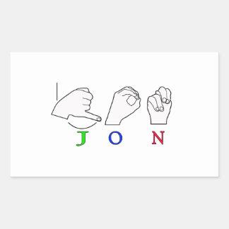 JON FINGERSPELLED NAME ASL SIGN RECTANGULAR STICKER