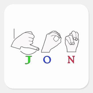 JON FINGERSPELLED NAME ASL SIGN SQUARE STICKER