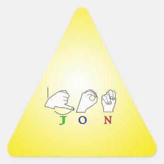 JON FINGERSPELLED NAME ASL SIGN TRIANGLE STICKER