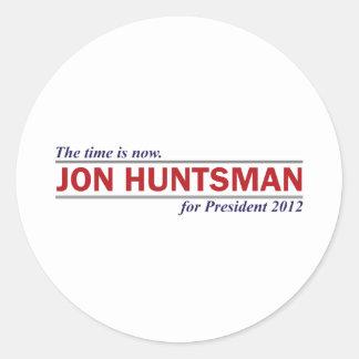 Jon Huntsman The Time is Now President 2012 Classic Round Sticker