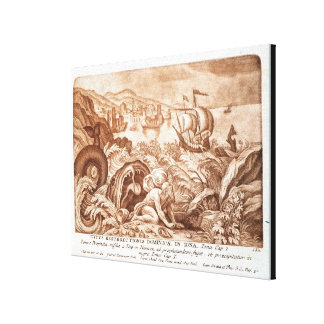 Jonah and the Whale, illustration from a Bible, en Canvas Print